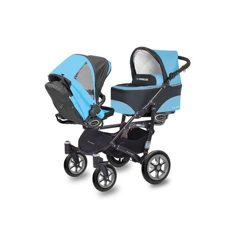 Accesorii bebelusi :: Carucioare copii :: Carucioare gemeni :: Carucior Pentru Gemeni MyKids Twinni Blue 3 In 1