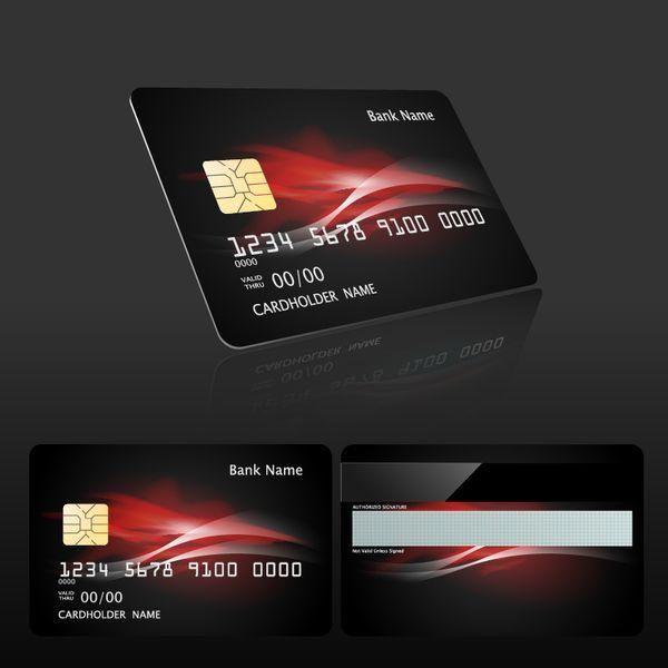 Vektor Der Dunklen Artbankkartenschablone 02 Dunkle Datei Env Bankkartenarten Vectors Card Template Card Files Bank Card