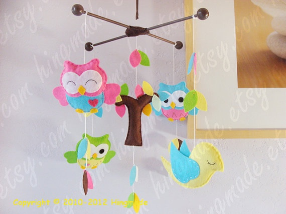 Baby Crib Mobile  Felt Mobile  Owl Mobile  Hot Pink by hingmade, $98.00
