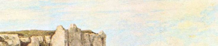 L'en-tête du 13 juillet : un bout de ciel bleu, et le haut d'une falaise - Etretat vu par Gustave Courbet