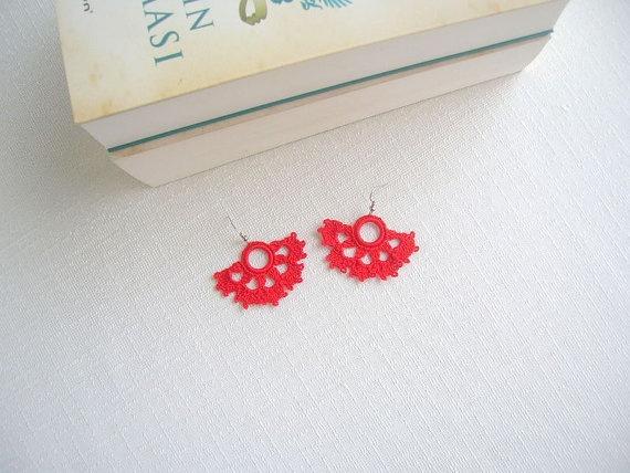 Redhandmade knitting earrings by NurayAytac on Etsy, $10.00