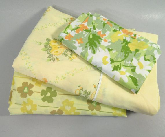 Vintage twin sheets remixed twin sheet set yellow by StephieD