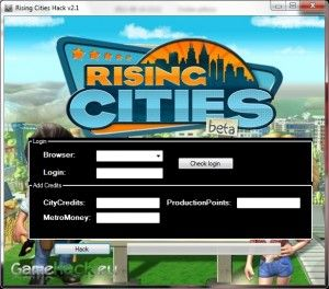 http://gamehack.eu/2012/rising-cities-hack-v2-1/  Rising Cities Hack v2.1 is a program for people who do not have much time to sit and play and want to be at the forefront of the ranking. Program as seen on the movie and screenshot is easy on the eyes and very easy to work with. You do not need to perform complex operations, the program does it for us. The program can add CityCredits, MetroMoney and ProductionPoints are the key attributes of the game.