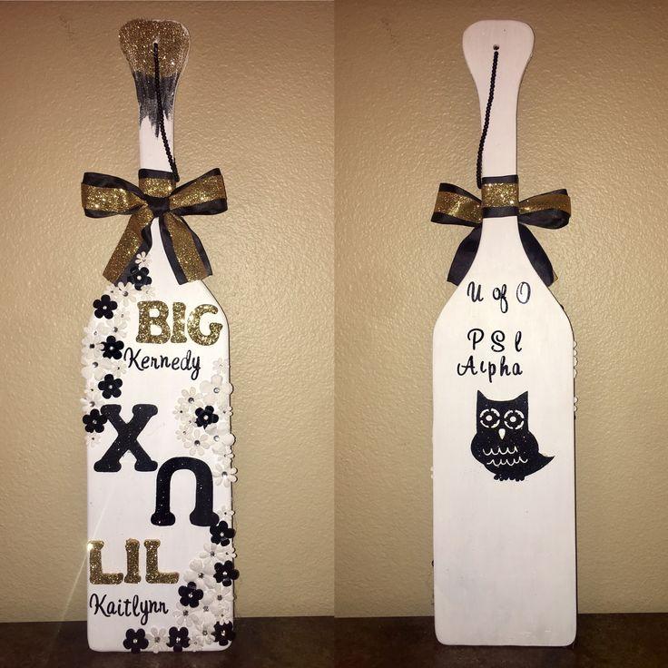 The paddle I made for my big.  Chi omega Psi Alpha chapter  2016  University of Oregon