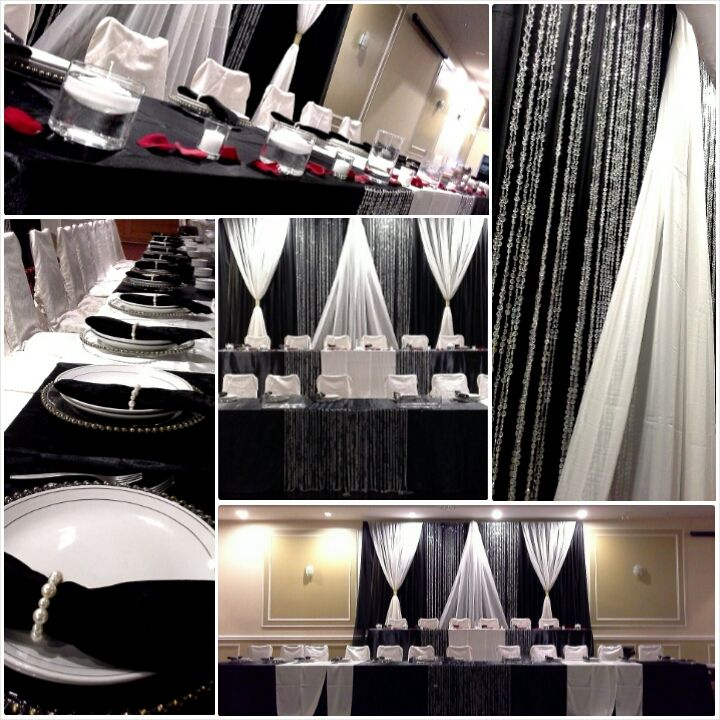 black and white head table and backdrop decor; design by Davis Floral Creations