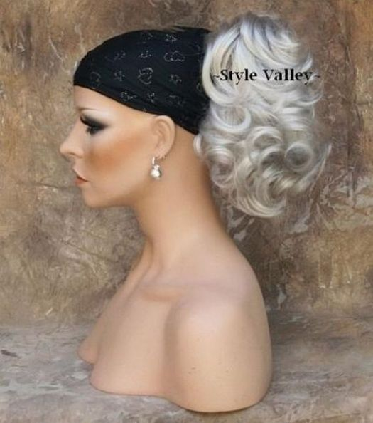 SILVER Grey WHITE Ponytail Hair piece short wavy clip on in Extension Hairpiece #CliponExtension