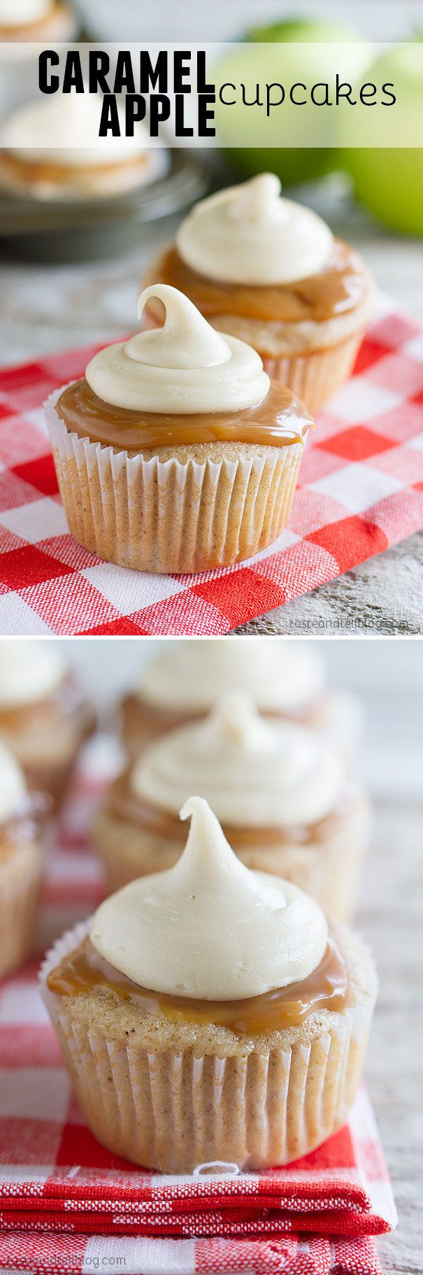 Spiced cupcakes are filled with fresh apples and then topped with caramel sauce and a thick caramel icing in these Caramel Apple Cupcakes that are perfect for fall.: