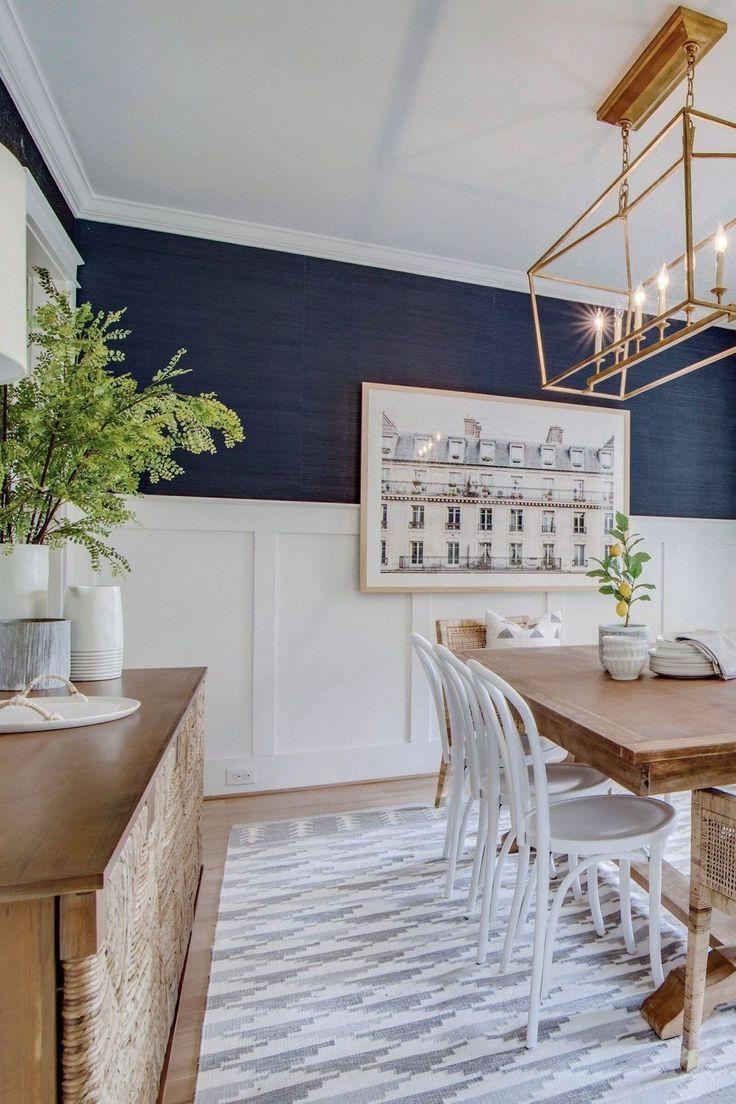 Wallpaper Living room Grey Navy blue White Furniture