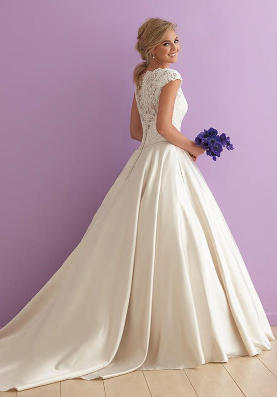 Fit For Royalty This Cap Sleeved Ballgown Pairs Gorgeous Lace With Shimmering Satin Wedding Dresses Pinterest And