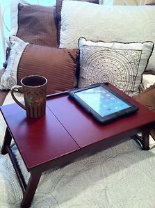Portable Wood Breakfast In Bed Tray; Adjustable Laptop Table