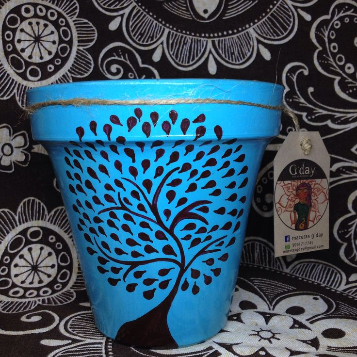 Macetas de barro pintadas a mano con o sin planta decorativa. MACETAS GDAY