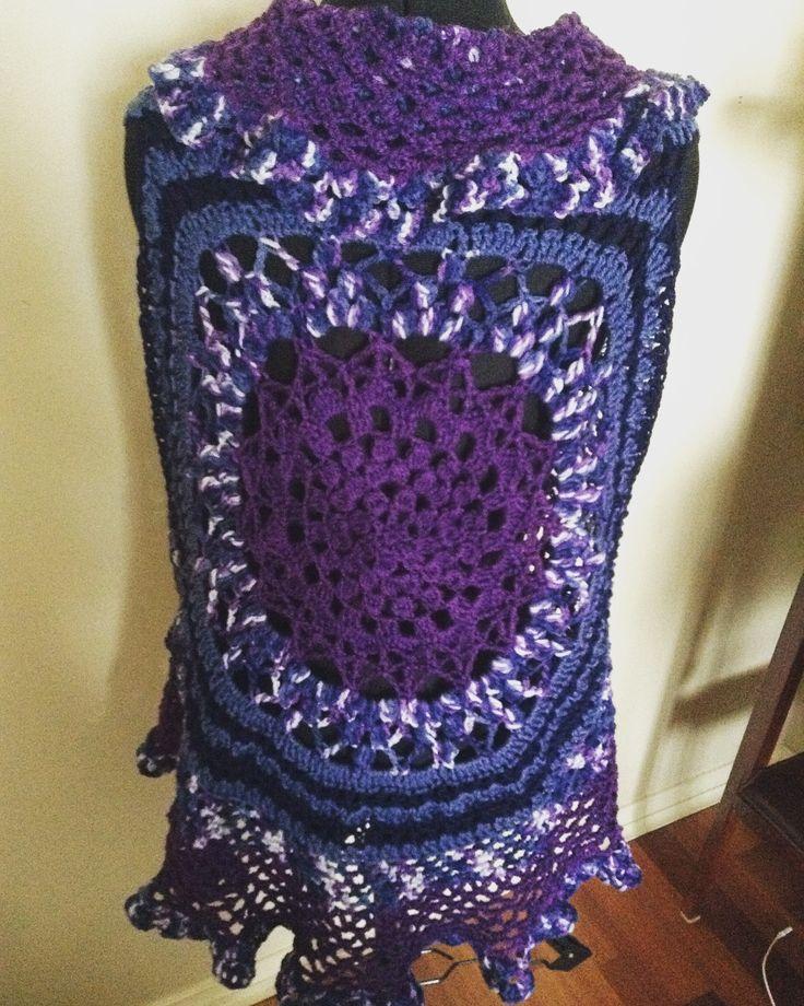 Crochet circular vest Mandala