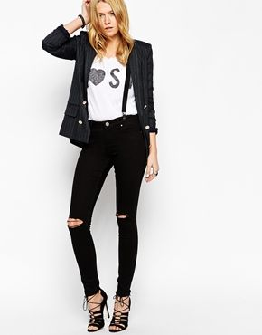 ASOS Lisbon Skinny Mid Rise Jeans in Black with Displaced Knees