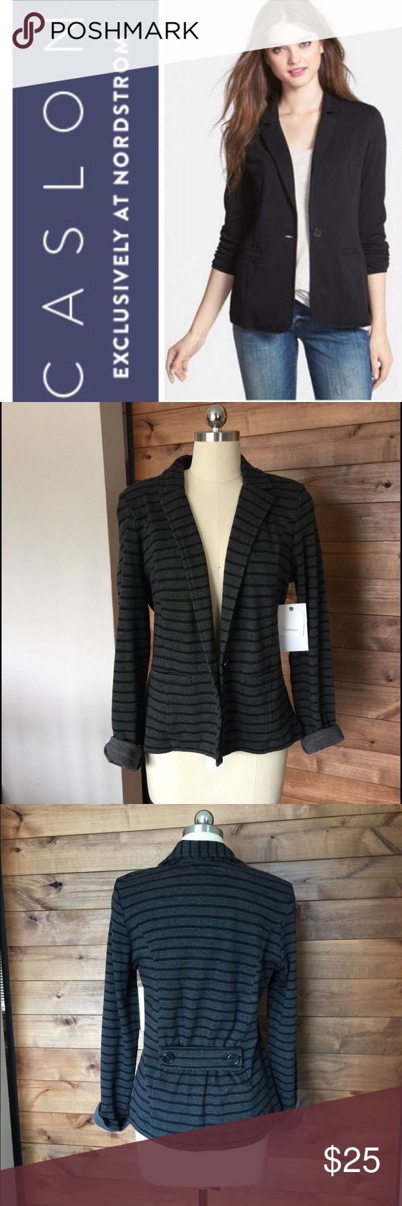 "Caslon by Nordstrom Grey & Black Knit Blazer NWT Soft Cotton knit in a striped blazer with a button-tab gather in the back for flattering definition. Versatile sleeves can be rolled or worn long. * 23"" regular length (size Medium). * Single-button closure. * Front welt hand pockets. * 100% cotton. Caslon Jackets & Coats Blazers"