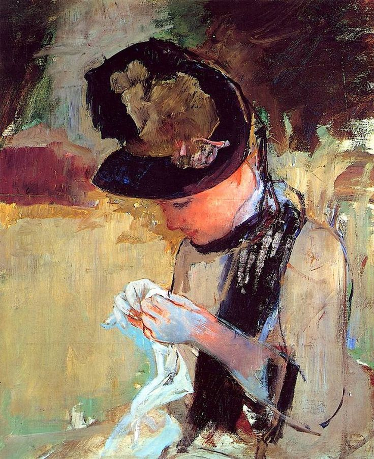Young Woman Sewing in the Garden // by Mary Cassatt (1844-1926)
