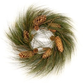Simple yet elegant faux Longleaf Pine Wreath. It looks real, but won't dry out.