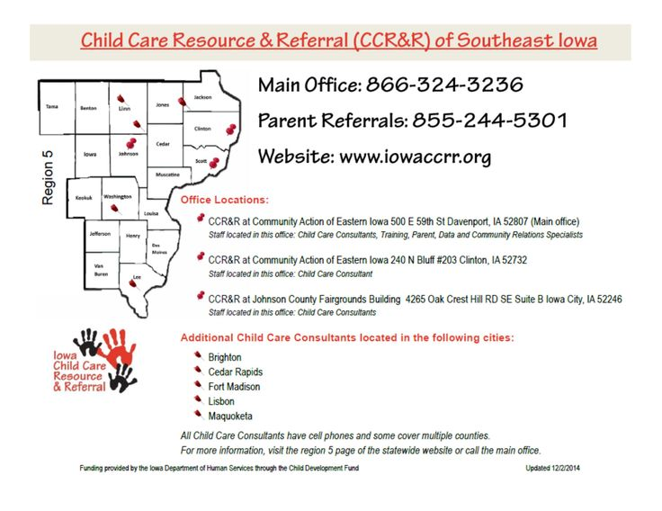 CCR&R of Southeast Iowa office locations IACCRR