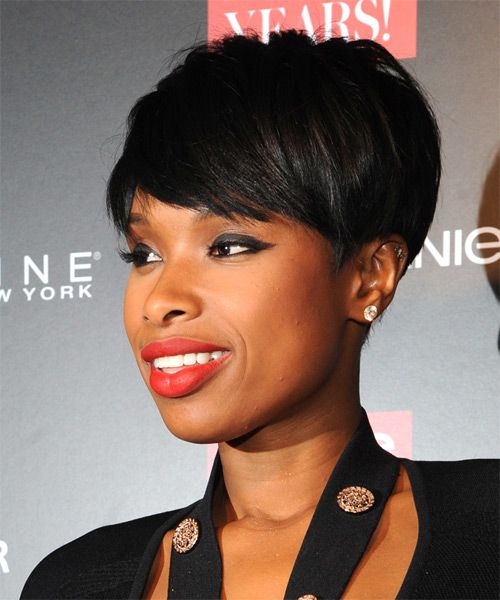 Jennifer Hudson Short Straight Formal Hairstyle With Side Swept Bangs Black