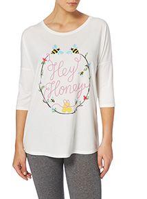 Cream Hey Honey Batwing Sleeves T-shirt