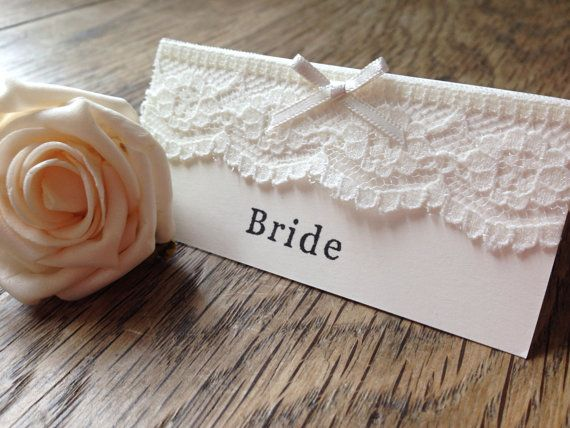 Handmade Lace Vintage Wedding Place Name Cards / by kibbiecards, £1.00