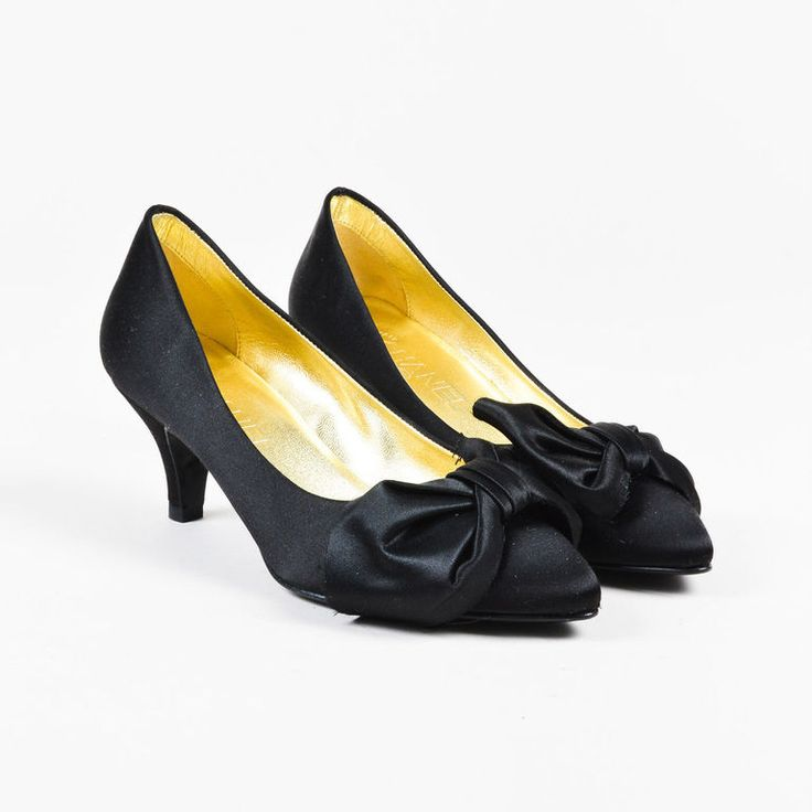 Chanel Black Satin Pointy Toe Bow Kitten Heel Pumps SZ 36 | Clothing, Shoes & Accessories, Women's Shoes, Heels | eBay!