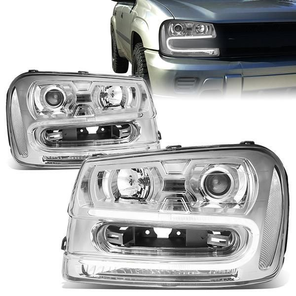 02 09 Chevy Trailblazer Ext Led Drl Projector Headlights Chrome
