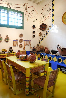 Casa Azul: Frida's kitchen, an bold and beautiful symphonyto honorMexican pottery and other handicrafts. Color therapy at its best, and my new favorite - a wilder version of Monet's kitchenin Giverny.
