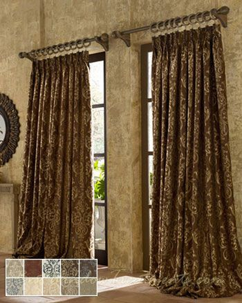 castella woven jacquard two tone fabric in standard size extra long length curtain panels