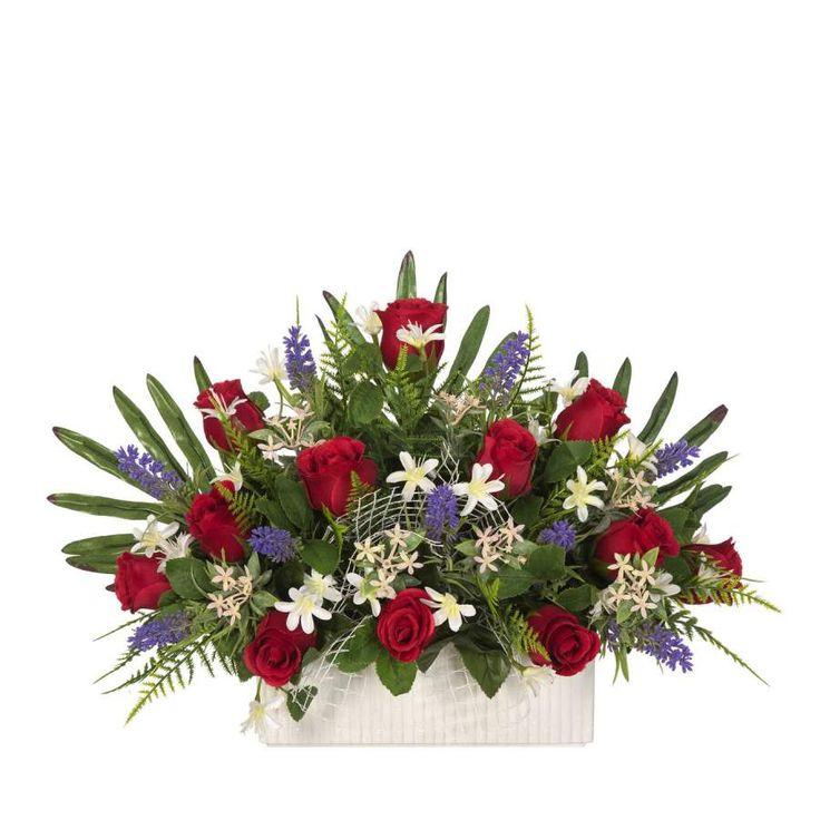 Jardinera Todos los Santos. Jardinera de cerámica para cementerio con flores artificiales. Rosas de color rojo flores y hojas de relleno. Plana. Alto 28 cms.