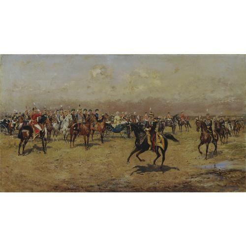 Tadeusz Ajdukiewicz, Militärparade vor Kaiser Franz Joseph I., 1899, Öl auf Leinwand, 90 x 160 cm, Öl auf Leinwand, Belvedere, Wien, Inv.-Nr. 7890