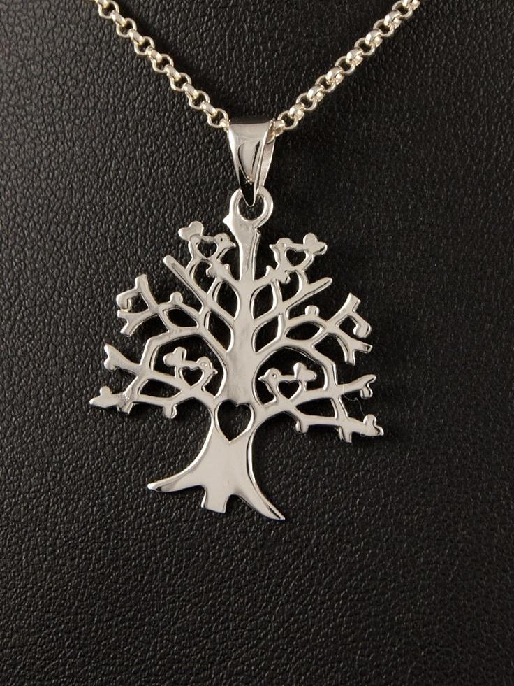 Stříbrný přívěsek 925 punc, design: strom, srdce. 54-706-11125