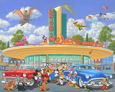 Mickey Mouse - Walt's Drive In - Manny Hernandez - World-Wide-Art.com - $595.00