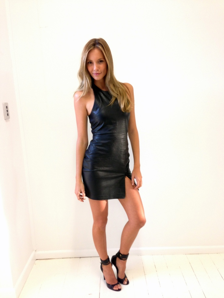 The Angeliqua Leather Zip dress with croc-effect embossing, available now.