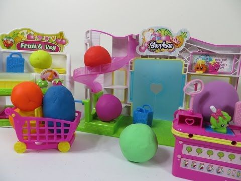Shopkins Small Mart Fruit Veg Stand Bakery Playdoh Surprise Egg Minecraft More - YouTube