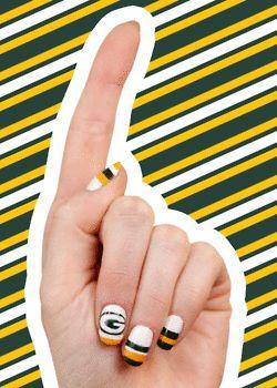 Green Bay Packer nail art