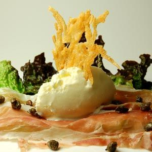 Parmesan ice cream with Prosciutto #MolecularGastronomy