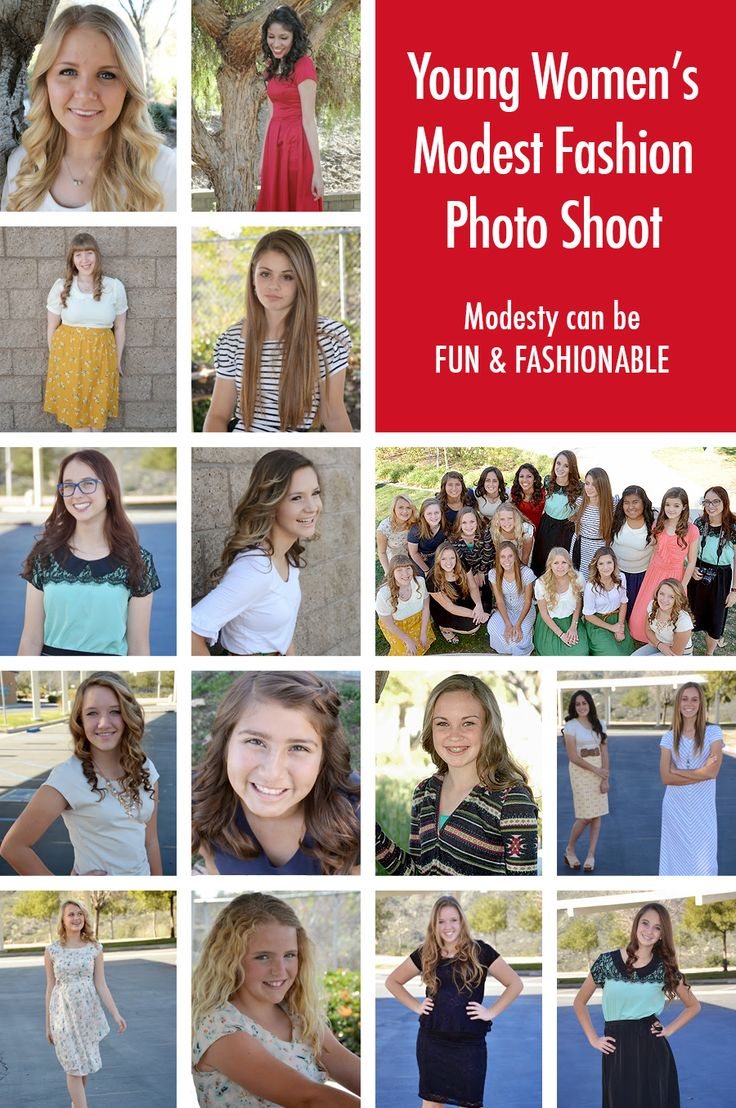 Fun twist on the young women's modesty fashion show. The photo shoot made teaching about modesty fun and showed that modesty doesn't mean dumpy.