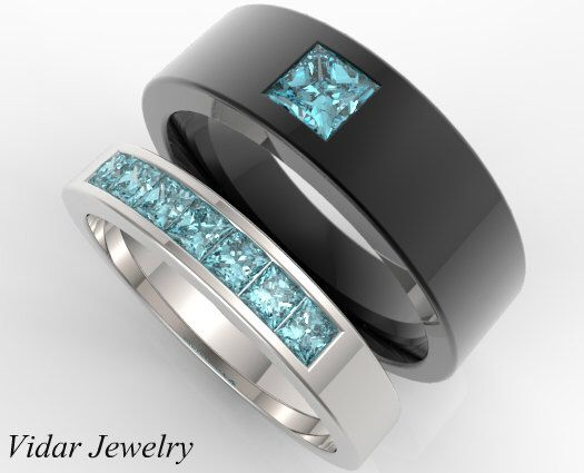 Matching Wedding Band,Aquamarine Matching Ring,Princess Cut Matching Rings,His And Here Wedding Bands,Unique Matching Rings,Black Gold Ring by Vidarjewelry on Etsy https://www.etsy.com/listing/242702539/matching-wedding-bandaquamarine-matching