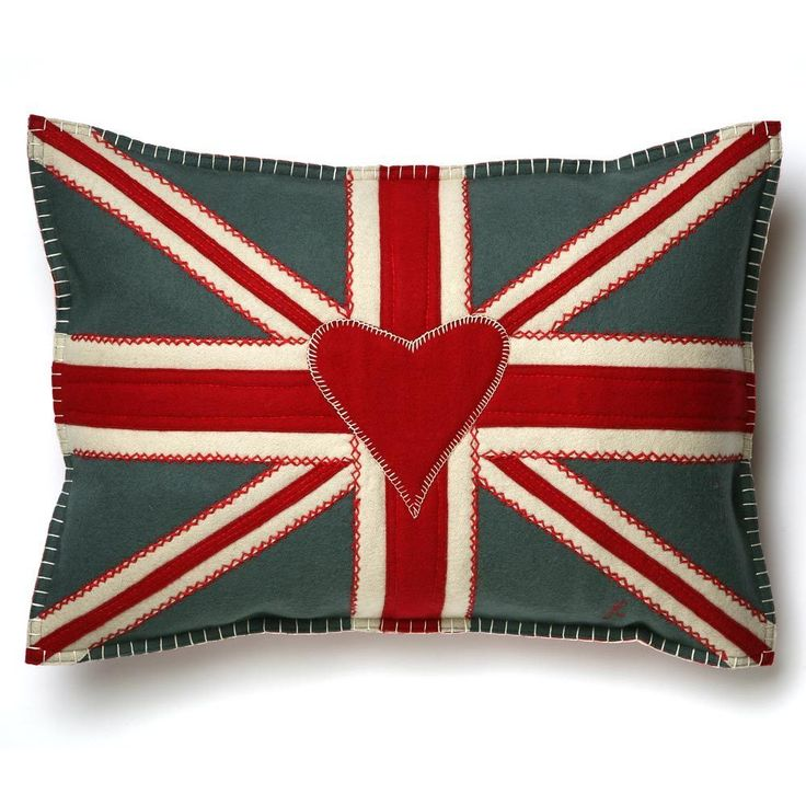 Luxury Designer Union Jack Cushion - Grey Wool, Hand-Embroidered