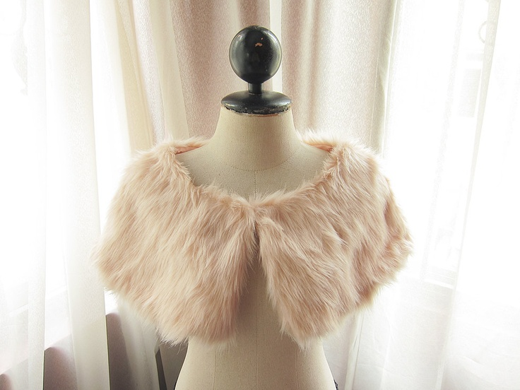 Jane Austen Classy Romantic Snow Warm Alice in Wonderland Midnight Marie Antoinette Dusty Pink Faux Mink like Fur Wrap Cover up Capelet. $34.95, via Etsy.