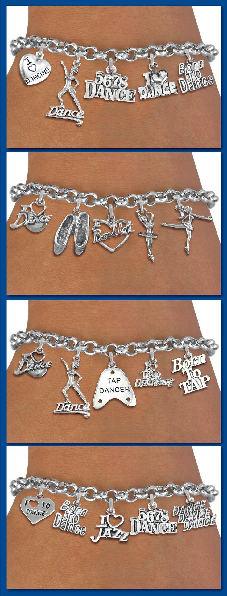 Ballet Dance Five Charm Bracelet - Silver Chain Bracelet w Silver Charms