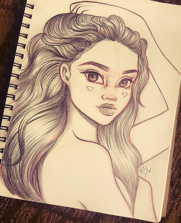 Рисунки для скетчбука девушки легко