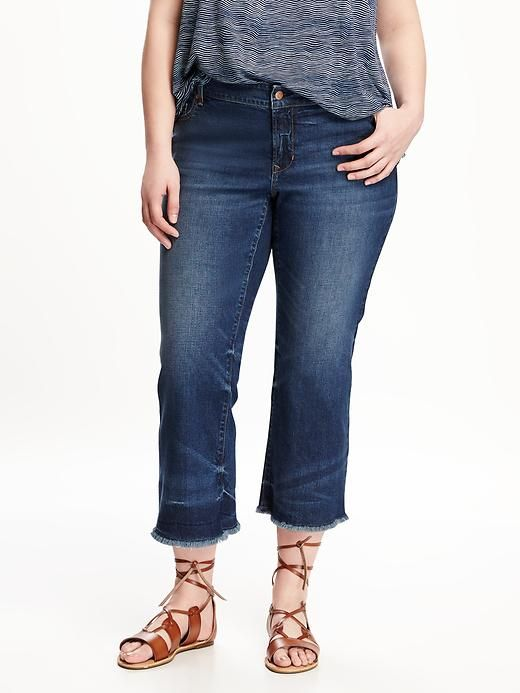 ccce01ac2e5 Raw-Edge Plus-Size Cropped Jeans