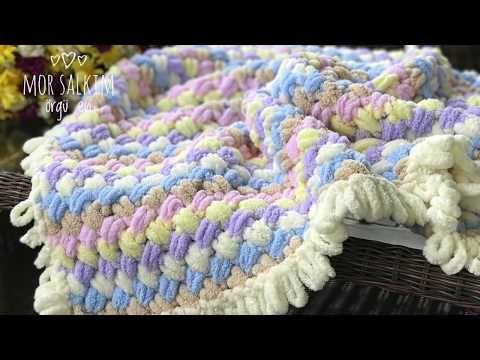 Alize Puffy battaniye kenarına saçak nasıl yapılır ? baştan sona anlatım- bebek battaniyesi - YouTube