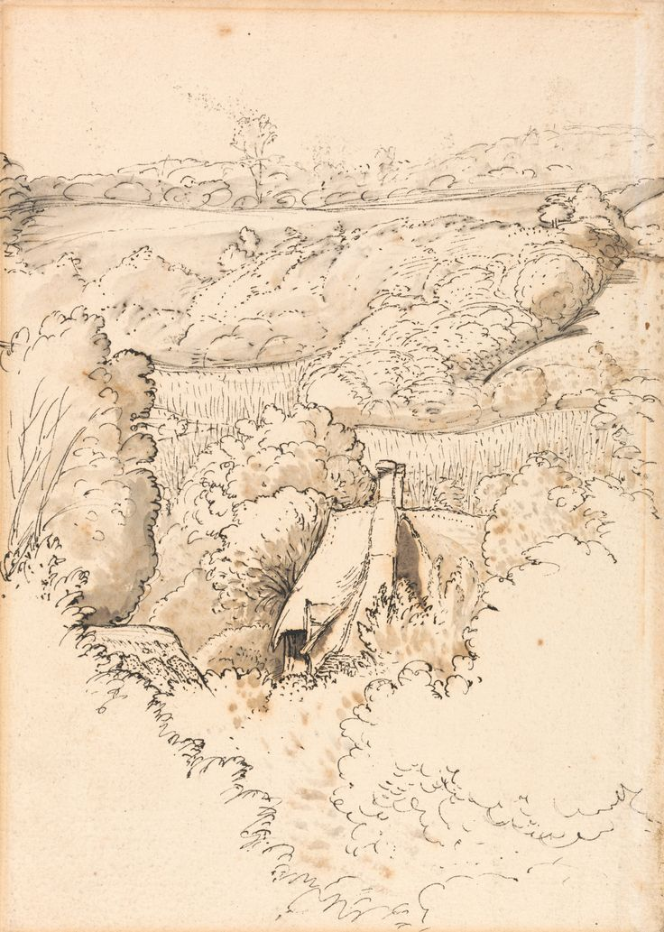 Samuel Palmer, 1805-1881, British, active in Italy (1837-1839), A Cottage among Trees, Shoreham, undated, Pen and black ink with gray wash o...