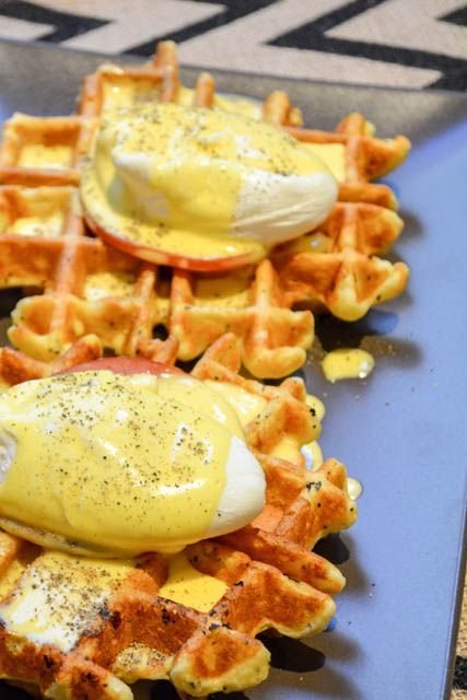 """""""Everything Bagel """"Waffle Eggs Benedict. She doesn't specify what """"everything bagel"""" seasoning is. Also I'm suspect of hollandaise sauce if its not cooked. I'd use packaged."""