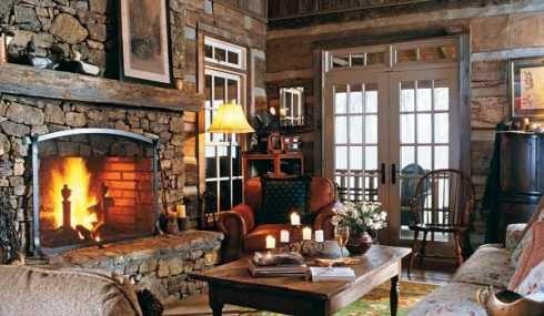 Living Room on Nice Country Living Room   Fireplace