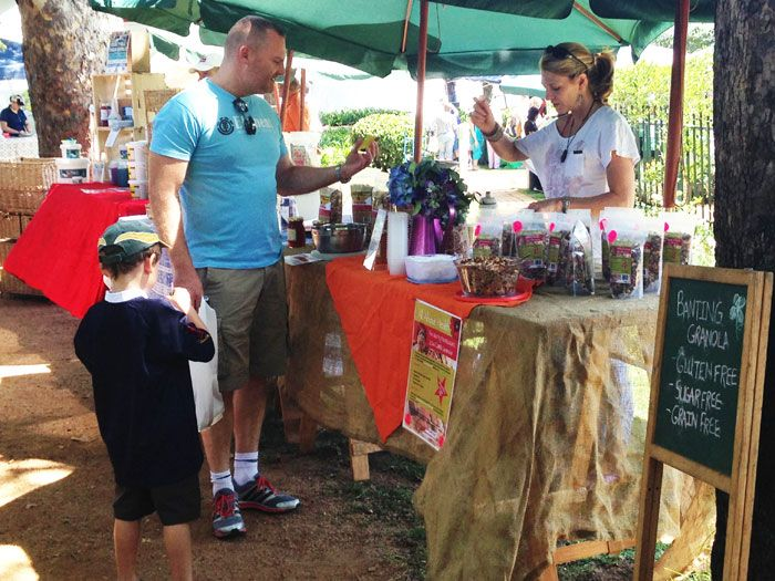 """""""Shop outdoors with the sun on your skin and the wind in your hair, and buy local goods made by Jozi artisans."""" So punts the Jozi Real Food Market owner, Ingrid Goncalves. """"It's a great way to spend a Saturday morning catching up with old friends, out in the open or under the trees! Kids"""