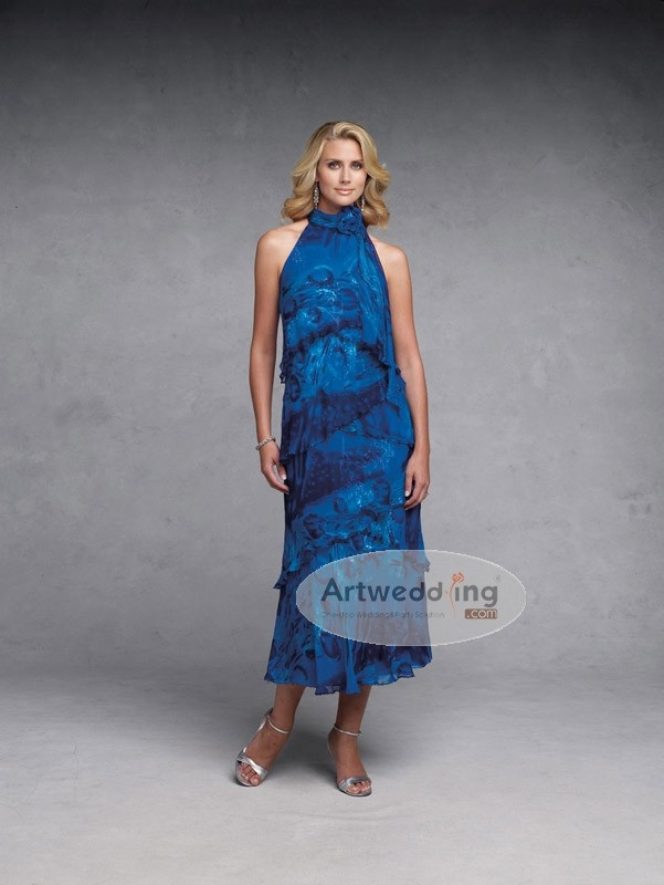Sleeveless Satin and Chiffon Floral Print Dress with Ruffles and 3D Flower