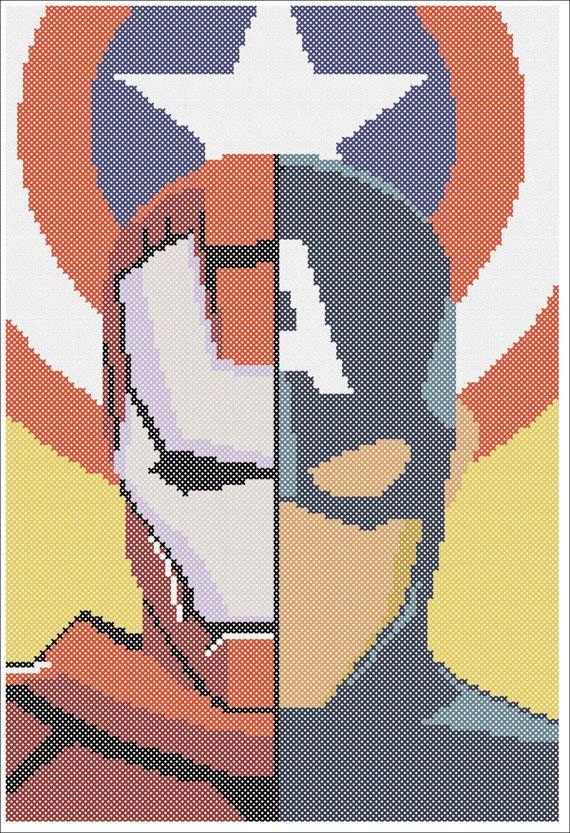 BOGO FREE! Superheroes Marvel Captain America Iron Man Civil War Logo Cross Stitch Pattern - pdf pattern instant download  #215